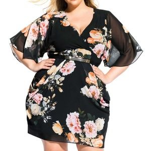 City Chic tuscan rose belt floral faux wrap dress